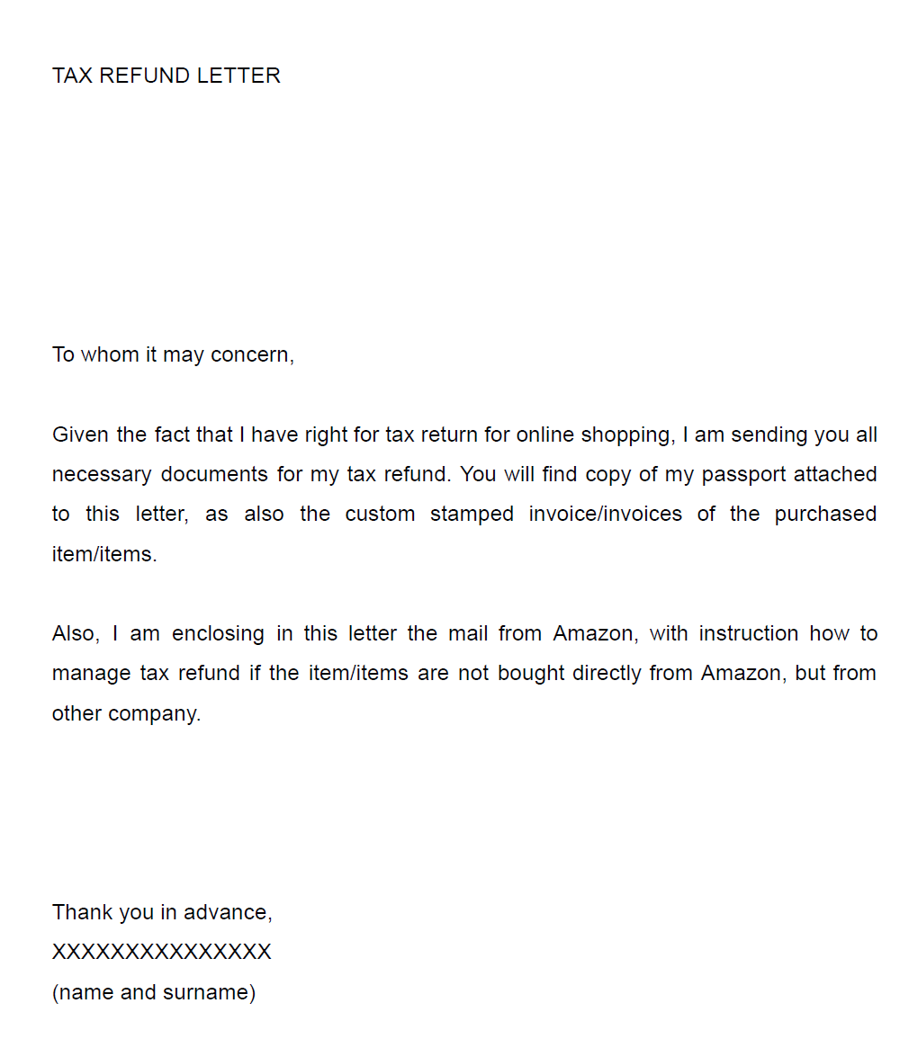 Get some money back from amazon shopping compare shops tax refund cover letter madrichimfo Gallery